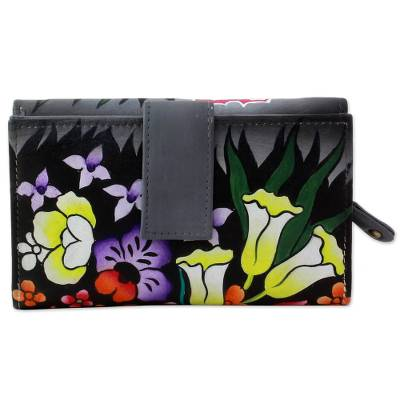 Hand Painted Leather Wallet Floral Motifs from India