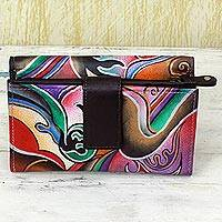 Leather wallet, 'Fantasy Blossom' - Hand Painted Leather Wallet Multicolored from India