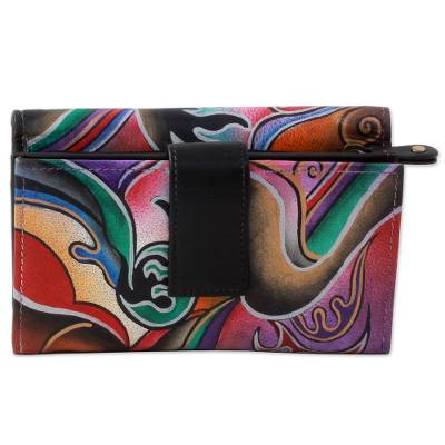Hand Painted Leather Wallet Multicolored from India