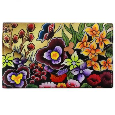 Leather wallet, 'Paradise Found' - Hand Painted Flap Leather Wallet Floral Motifs from India