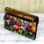 Leather wallet, 'Paradise Found' - Hand Painted Flap Leather Wallet Floral Motifs from India (image 2b) thumbail
