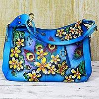 Leather shoulder bag, 'Peacock Flowers' - Hand Painted Leather Shoulder Bag Blue Floral India