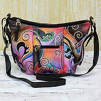 Leather shoulder bag, 'Midnight Thrill' - Hand Painted Leather Tote Handbag Multicolored Floral India