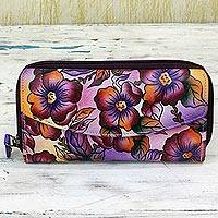 Leather wallet, 'Lovely Blossoms' - Hand Painted Leather Flap Wallet Multicolored Floral India