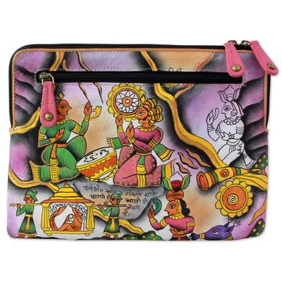 Hand Painted Leather Clutch Handbag Multicolored from India