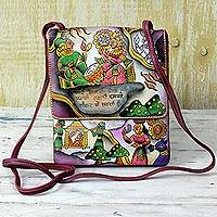 Leather sling bag, 'Royal Marriage' - Hand Painted Leather Flap Sling Bag from India