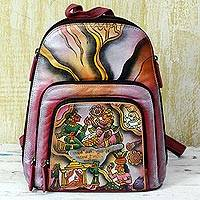 Leather backpack, 'Royal Court' - Hand Painted Leather Backpack Multicolored from India
