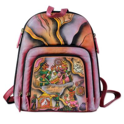 Hand Painted Leather Backpack Multicolored from India