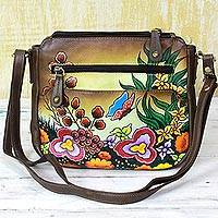 Leather sling bag, 'Springtime Daisies' - Brown Multicolored Leather Sling Handbag from India