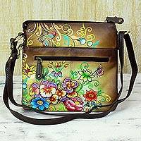 Leather sling bag, 'Floral Brilliance' - Leather Sling Bag Brown Floral Motifs from India