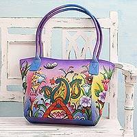 Leather shoulder bag, 'Whimsical' - Handpainted Leather Shoulder Bag with Floral Paisley Motif