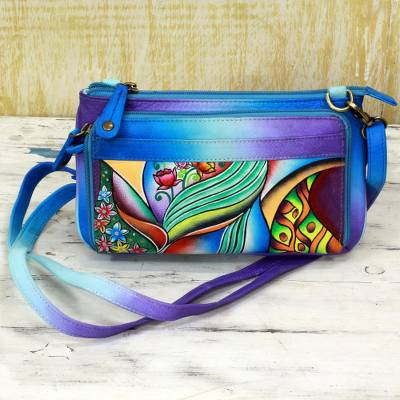 Leather shoulder bag, 'Spring Abode' - Blue Hand Painted Leather Small Handbag from India