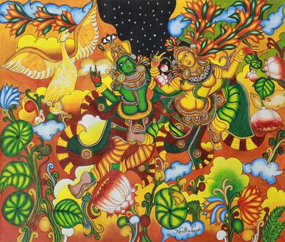 Love Paradise with Krishna and Radha Hinduist Painting