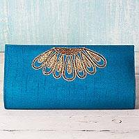 Polyester clutch handbag, 'Blue Glamour' - 100% Polyester Embroidered Clutch Caribbean Blue India