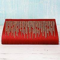 Polyester clutch handbag, 'Poppy Queen' - Polyester Clutch Handbag in Poppy Red from India