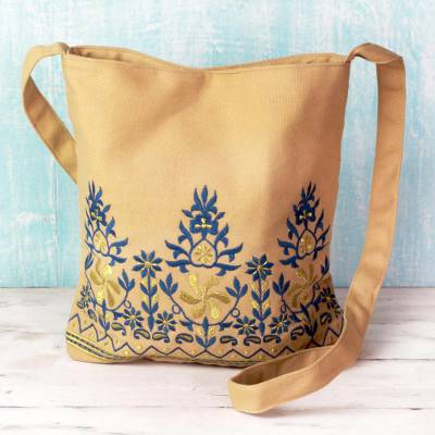 Cotton shoulder bag, 'Beige Delight' - Cotton Shoulder Bag Beige Floral Motifs from India