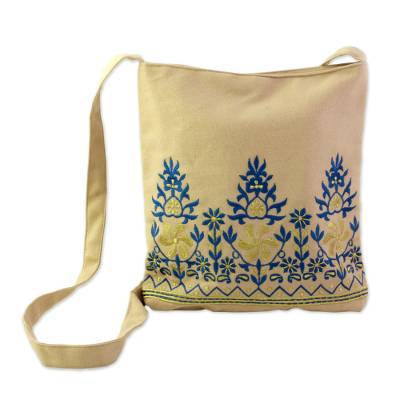 Cotton Shoulder Bag Beige Floral Motifs from India