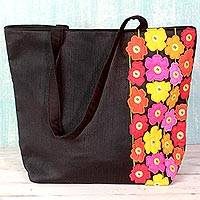 Cotton blend tote handbag, 'Spring Memories' - Cotton Blend Tote Handbag Floral Theme from India