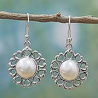 Cultured mabe pearl dangle earrings, 'Indian Blossoms' - Sterling Silver Cultured Pearl Dangle Earrings from India