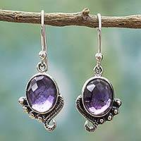 Amethyst dangle earrings, 'Indian Delight in Purple' - Handmade Sterling Silver Amethyst Dangle Earrings from India