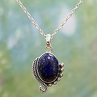 Lapis lazuli pendant necklace, 'Indian Delight in Blue' - Sterling Silver Lapis Lazuli Pendant Necklace from India