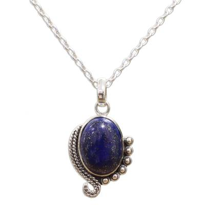 Sterling Silver Lapis Lazuli Pendant Necklace from India