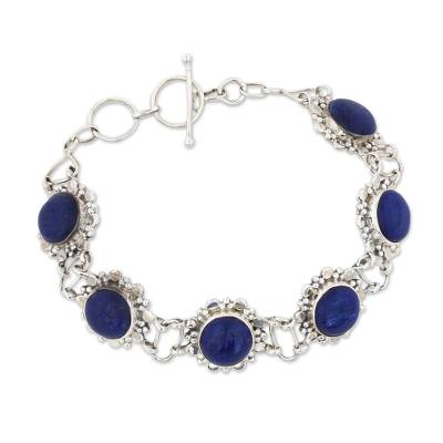 Sterling Silver Lapis Lazuli Link Bracelet from India
