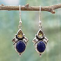 Citrine and lapis lazuli dangle earrings,