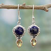 Citrine and lapis lazuli dangle earrings, 'Indian Dew' - Handmade Citrine Lapis Lazuli Dangle Earrings from India