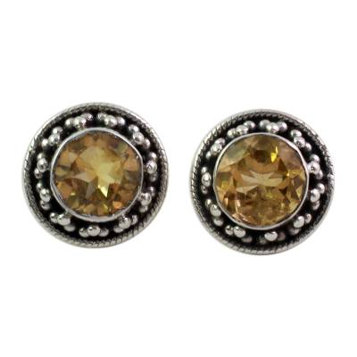 Hand Made Faceted Citrine Button Earrings from India