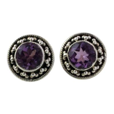 Hand Made Faceted Amethyst Button Earrings from India