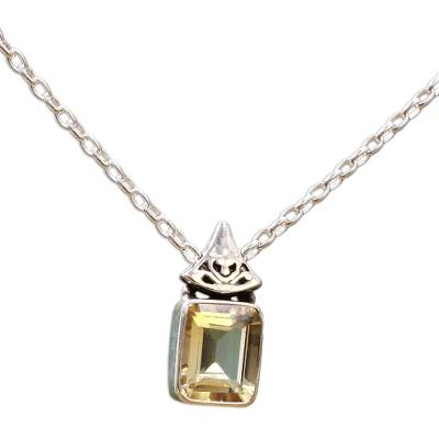 Hand Made Faceted Citrine Pendant Necklace from India