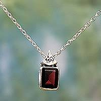 Garnet pendant necklace, 'Indian Grace in Red' - Hand Made Faceted Garnet Pendant Necklace from India