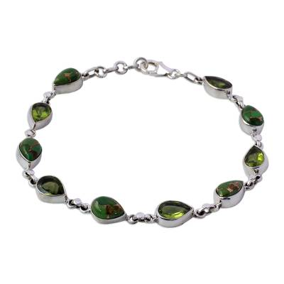Peridot Composite Turquoise Link Bracelet from India