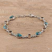 Citrine link bracelet, 'Sunny Drops in Blue' - Citrine Composite Turquoise Link Bracelet from India