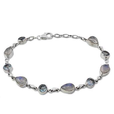 Blue Topaz and Rainbow Moonstone Gemstone Station Bracelet