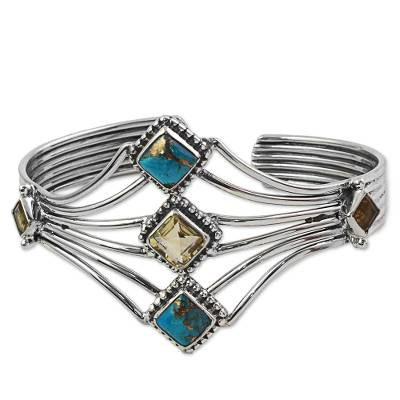 Composite Turquoise and Citrine Cuff Bracelet from India