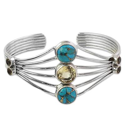 Handmade Composite Turquoise Citrine Cuff Bracelet India