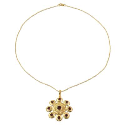 Gold Plated Sterling Silver and Garnet Pendant Necklace