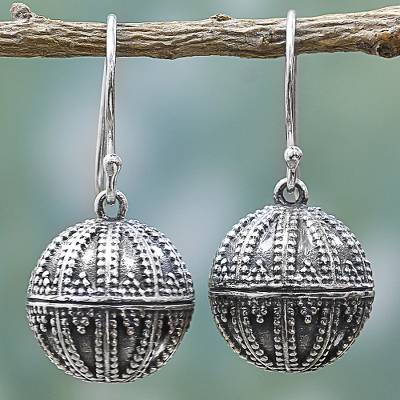 Sterling silver dangle earrings, 'Dancing Globes' - Handmade Sterling Silver Dangling Globe Earrings from India