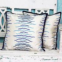 Embroidered cushion covers, 'Blue Waves' (pair) - Pair of Polyester Cushion Covers with Calming Wave Design