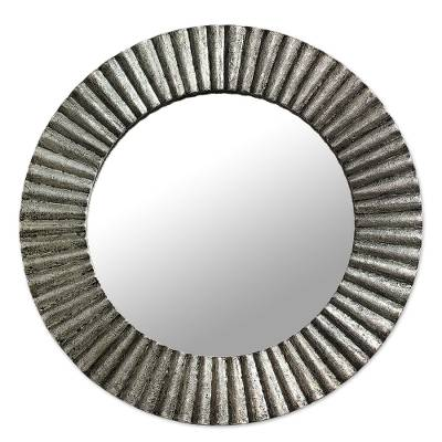 Aluminum Distressed Circular Wall Mirror from India