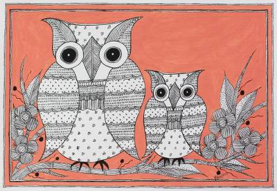 Madhubani painting, 'Maternal Bonds' - Indian Madhubani Owl Painting on Handmade Paper