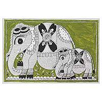 Madhubani painting, 'Elephant Connection' - Signed Madhubani Painting of Mother and Baby Elephant