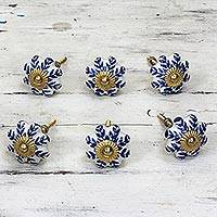 Ceramic cabinet knobs, 'Blue Sunshine' (set of 6) - Ceramic Cabinet Knobs Floral White Blue (Set of 6) India