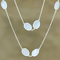 Chalcedony long station necklace, 'Aqua Princess' - Aqua Chalcedony Sterling Silver Station Necklace