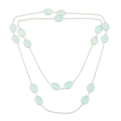 Aqua Chalcedony Sterling Silver Station Necklace