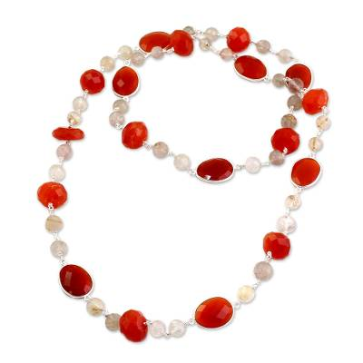 Long Sterling Silver Carnelian and Golden Rutile Necklace