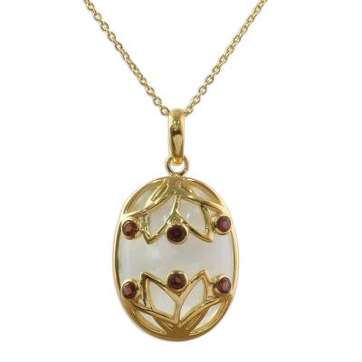 Gold Plated Pendant Necklace Garnet Rainbow Moonstone India