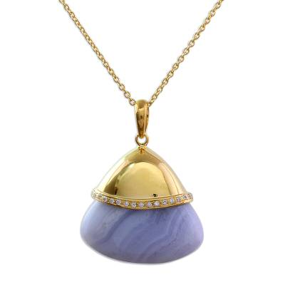 Indian Gold Plated Sterling Silver Blue Lace Agate Necklace
